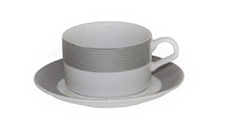 (Set of 6 Bone China Demitasse Cups and Saucers for Espresso or Turkish Coffee (Silver Stripe))