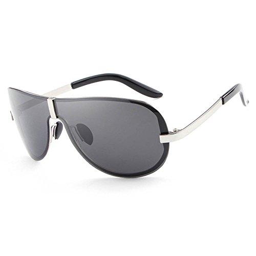 Soleil Fashion Silver Lens RPFU Polarizer Homme UV400 De grey Frameless Lunettes Métal EwvCq7