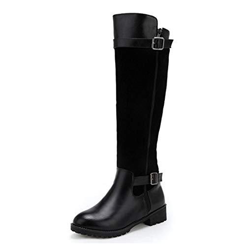 Zapatos Negro Rodilla Tacón Moda 50 Plus Haoliequan 33 Invierno Cremallera Botas Con Mujer Para De Mujeres Altas Hebilla Plataforma Redonda Punta qR4znpxwHn