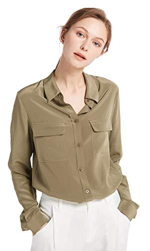 LilySilk Women's 100% Silk Blouse Long Sleeve Ladies Shirts 18 Momme Silk (Dark Khaki, M)