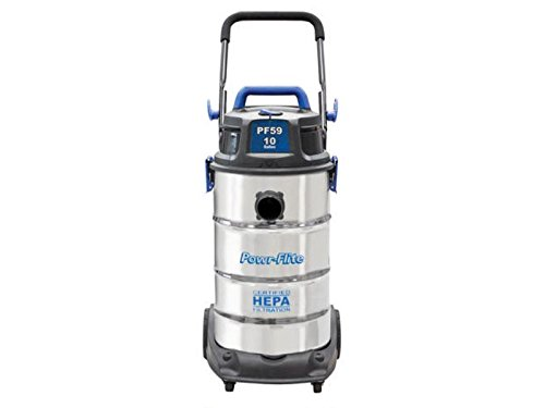 Powr-Flite PF59 HEPA Wet Dry Vacuum with Stainless Steel Tank and Tool Kit, 10 gal Capacity (Wet Dry Hepa Vacuum compare prices)