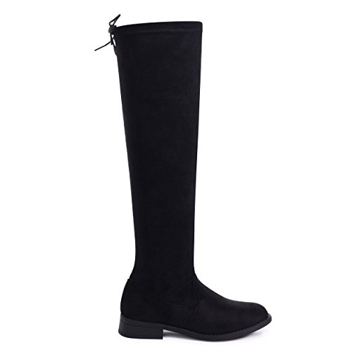 Tie Up Suede with Back Isabella Black Linzi High Black Knee Stretch Boot 8EZEqwaxz