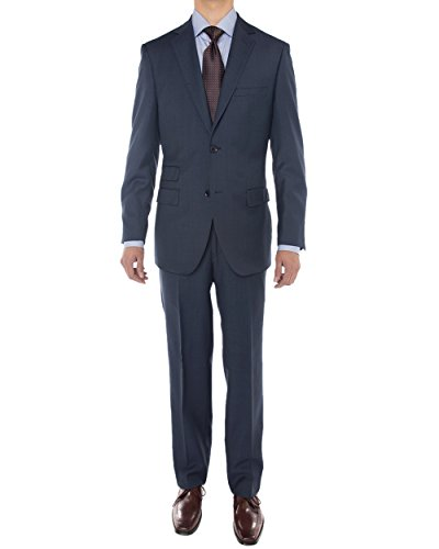 Luciano Natazzi Men's Sharkskin 160'S Wool Suit 2 Button Jacket Flat Front Pant (42 Regular US / 52R EU / W 36