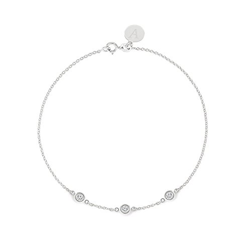 TousiAttar Solitaire Diamond Bracelet 0.15ct - Solid 14k or 18k White Gold- Dainty and Simple Bezel Set - Free Customized Engraved Name and Initial or Message.