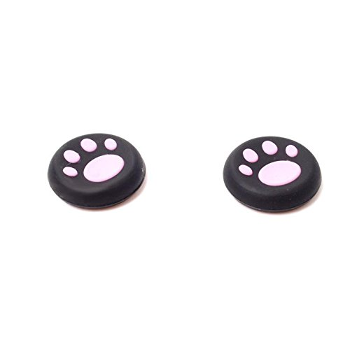 Eachbid 1 Pair Silicone PS4 Cat Paw Cap Controller Thumbstick Caps for PS4 Xbox One Pink