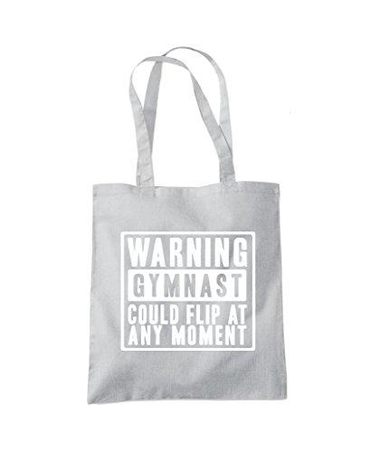 Warning Gymnast Could Flip at Any Moment - Gym bag Tote Shopper Fashion Bag Light Grey