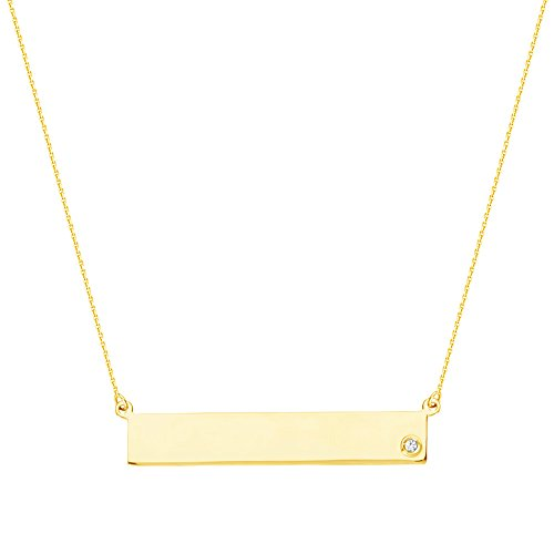 14kt Yellow Gold Rectangular Diamond Bar Engravable Disc Necklace -