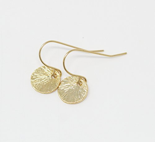 Simple Gold Plated Disc Earrings With Ray of Light Pattern (Disc Plated Gold)