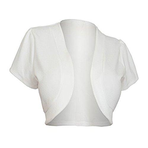 Price comparison product image Meolin Short Sleeve Open Front Draped Shawl Short Coat Cape Shawl Blazer,white,L