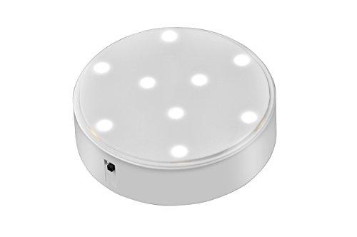 Under Vase Light, Kitosun 4-inch Mini Portable LED Light Base with White Light, Battery Powered Reusable LED Light for Centerpiece Christmas Party Halloween Vase Wedding Home Decor(White Light) (Sale Glass)