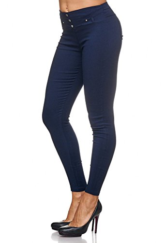 Da Hosen D2123 Treggings Rivetti Arizonashopping Con Jeggings Scuro Donna Blu Jeans Pantaloni dEz6q