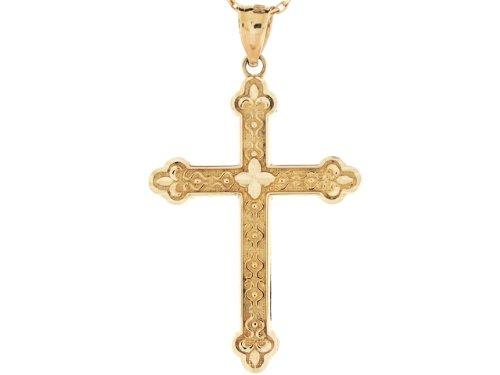 9ct Or Pendentif Croix Religieuse Chrétienne Catholique Taille Diamant