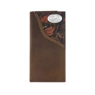 Zep-Pro Labrador Fencerow Braided Leather Long Secretary Concho Wallet-Brown/Camo
