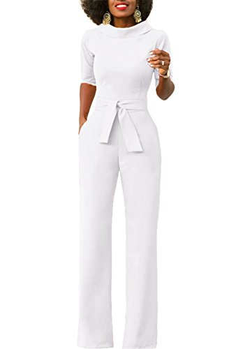 KISSMODA Women Short Sleeve Lapel Work Jumpsuit With Belt Solid Color White XX-Large (Pant Ladies Suits)