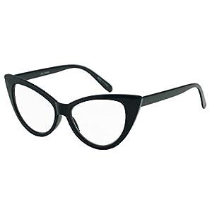 SunglassUP - Women's Round Rx Optical Cat Eye Magnification Reading Readers Eye Glasses (Black, 1.25)