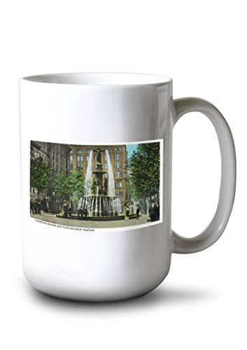 Lantern Press Cincinnati, Ohio - Tyler Davidson Fountain and Square Scene (15oz White Ceramic ()
