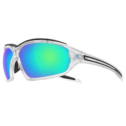 Adidas Eyewear Evil Eye Evo Pro L Sunglasses - Crystal Shiny Frame/Blue mirror Lens - 0-A193/00 6071 00/00 (Evil Eye Pro)
