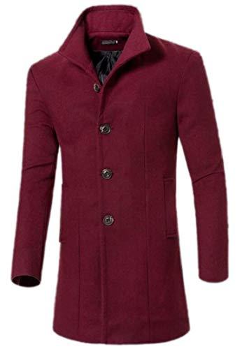 Wool TTYLLMAO Collar 2 Stand Blend Men Pea Casual Coat Single Breasted qTfTS