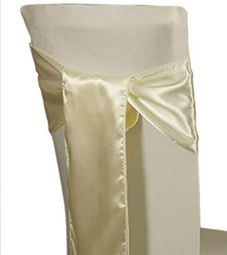mds Pack of 10 Satin Chair Sashes Bow sash for Wedding and Events Supplies Party Decoration Chair Cover sash -Ivory