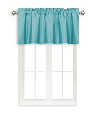 Home Queen Solid Rod Pocket Blackout Curtain Valance Window Treatment for Living Room, Short Straight Drape Valance, 2 Pieces, 37 X 18 Inch, Teal