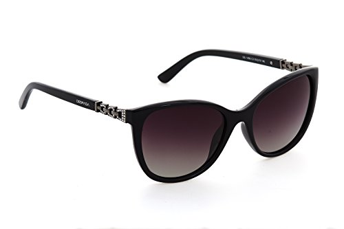 DESPADA, Made In ITALY Fashion Classic Women's Sunglasses Over sized Glasses Polarized Lens. With Silver Accent UV400 DS1496c3 (Black, Dark - Sunglasses Italy In Made Y