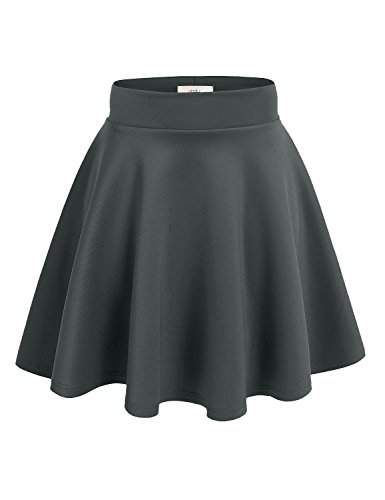 Simlu Women's A Line Flared Skater Skirt, Grey, Small