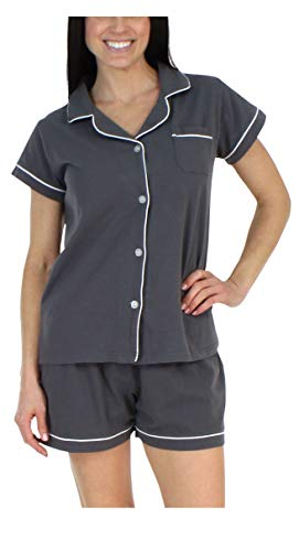 - Sleepyheads Women's Sleepwear Stretchy Jersey Long Sleeve Button Up Top and Pants Pajama Set,Charcoal,Large