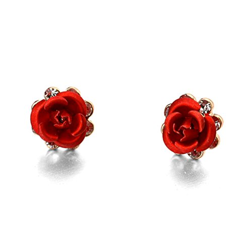 Rose Gold Plated Simple Red Rose Stud Earrings Fashion Jewelry for Women
