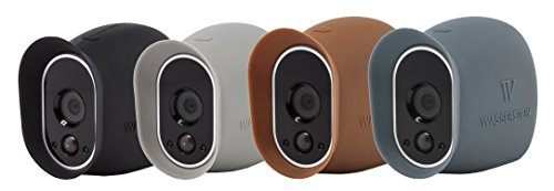 4 x Silicone Skins Compatible with Arlo Smart Security - 100% Wire-Free Cameras — by Wasserstein (Black/Brown/Grey/Blue)