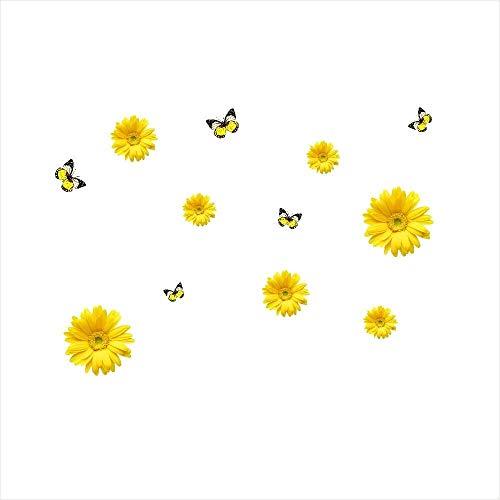 (MomeWall Sticker 1 Set Chrysanthemum Home Decor Wall Sticker Decal Bedroom Vinyl Art Mural Office Decoration Crafts DIY Gift (Yellow))