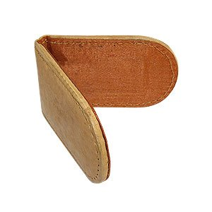 Slim Magnetic Genuine Leather Money Clip Tan Wallet