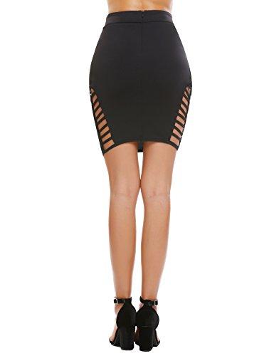 Zeagoo Women's High Waist Stretch Slim Fit Pencil Bodycon Short Mini Skirt Type3-black X-Large by Zeagoo (Image #5)