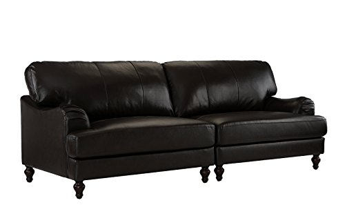 - Classic 2 Piece 100% Real Leather Sofa, Convertible Living Room Couch (Brown)