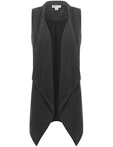 FPT Womens Asymmetrical Draped Open Hem Knit Vest CHARCOAL SMALL