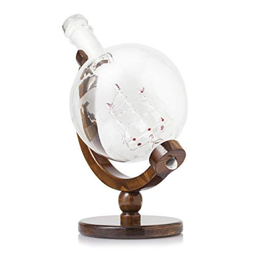 World Decanter With 2 Glasses - Whiskey Globe Decanter - The Wine Savant For Scotch, Spirits, Wine Or Vodka with Antique Ship, Gift for Men (1000ML)