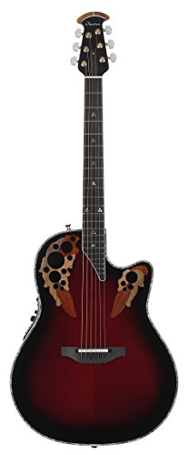 Adamas Acoustic Electric Guitar (Ovation C1868LX-BCB Custom Elite LX Acoustic-Electric Guitar, Black Cherry Burst)