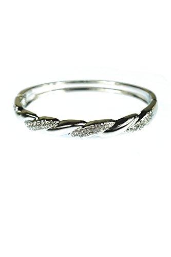 Twisted Cuff Hinge Bangle with Crystal Clear Rhinestone Bracelets (Silver) Crystal Hinge Bangle Bracelet