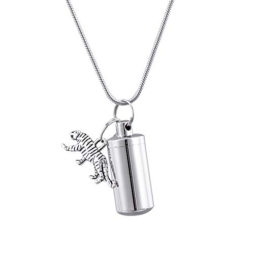 (HooAMI Cremation Urn Necklace Tiger Charm Memorial Keepsake Jewelry Ashes Holder 2.8cmx1.1cm)