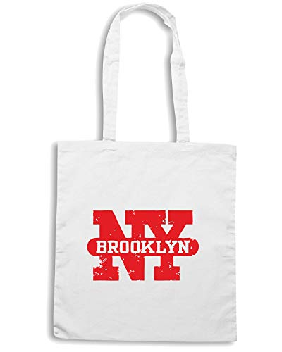 T-Shirtshock Borsa Shopper Bianca TSTEM0015 BROOKLYN NEW YORK