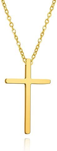BUREI Cross Necklace for Men and Women Simple Jewelry Gold Silver Plain Cross Pendant Necklaces Gifts, 14-18in