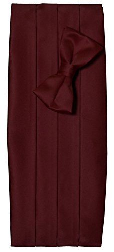 Mens Burgundy Satin Tuxedo Cummerbund and Bow Tie Set (Burgundy Cummerbund Set)