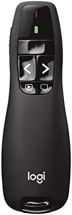 Apresentador sem fio Logitech R400 com Laser Pointer Vermelho e Pilha Inclusa - Preto