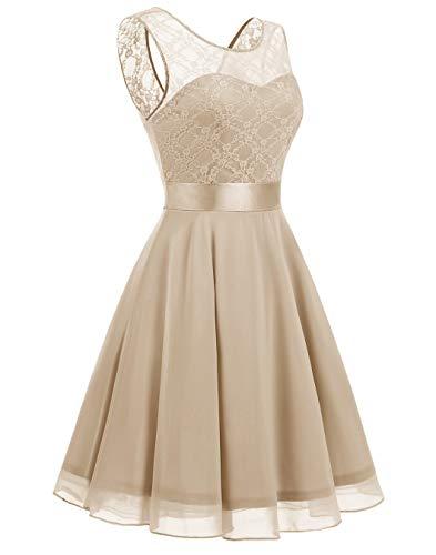 Swing Champagne Floral Dress Women's Dress Lace Light Short Bridesmaid A line Party BeryLove 78nRBUwqw