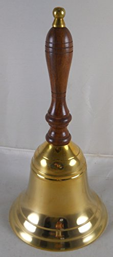 Solid Brass School Bell w/ Wood Handle ~ School Bell