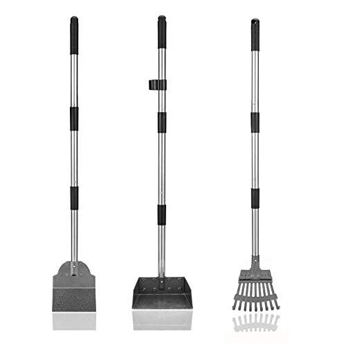 Upgraded Dog Pooper Scooper Set, 3 Pack Adjustable Long Handle Metal Tray, Rake and Spade Poop Scoop with Bin for Pet Waste Removal, No Bending Clean Up for Large and Small Dogs