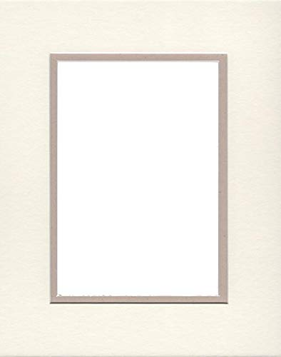 16x20 Double Acid Free White Core Picture Mats Cut for 12x16 Pictures in Cream and Light Tan by Woodburns Stencil Shop