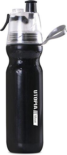 Body Mist Mix (Sports Bottle Black 600ml - Mist Spray, Squeeze Water Bottle- BPA Free- Easy Grip - by Utopia Home)