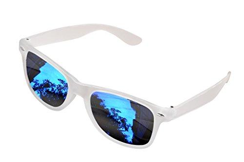 SHVAS UV Protected Wayfarer White Frame Blue Lens Unisex Mirrored Sunglasses [WFWHITESKY]