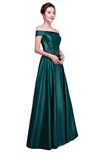 Festkleid Partykleid Linie Beliebt U Promkleid Damen Abendkleid Ivydressing Satin Ausschnitt A Dunkelgruen 5zXxC05wq