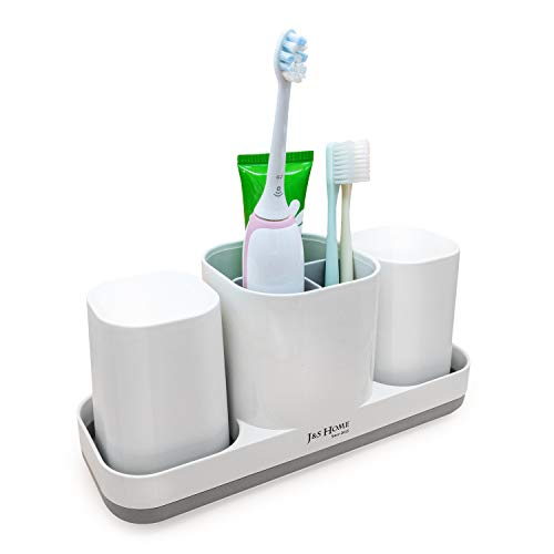 Guteauto J&S Toothbrush Holder for Bathroom, 3 Toothbrush Slots and 2 Bathroom Cups, White. for Family, Kids.